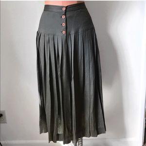 Vintage Olive Green Button Midi Skirt